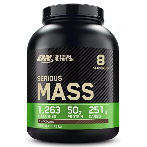 Optimum Nutrition ON Serious Mass Hochkalorisches Weight Gainer Protein Pulver mit Kohlenhydrate, Whey Protein, Vitaminen, Kreatin und Glutamin, Chocolate, 8 Portionen, 2,73kg