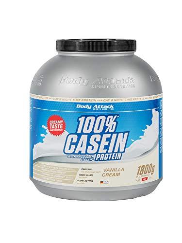 Body Attack 100% Casein Protein, reich an essentiellen Aminosäuren - Muskelaufbau und Erhalt, Low Sugar - für Sportler, Athleten & Figurbewusste - Vanilla Cream, 1,8 kg Eiweißpulver