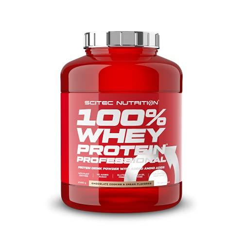 Scitec Nutrition 100% Whey Protein Professional mit extra zusätzlichen Aminosäuren und Verdauungsenzymen, glutenfrei, 2.35 kg, Schokolade-Cookies & Cream