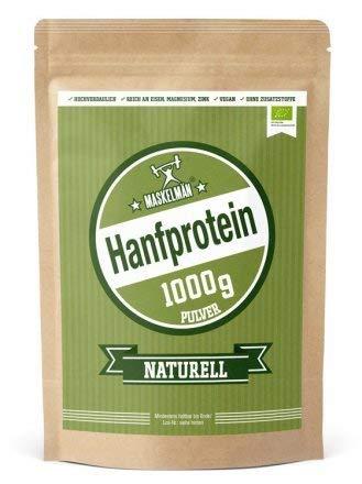 Maskelmän Hanfprotein - 1000 g - Mit 50 % Proteinanteil - Vegan und in Bio-Qualität - Zur Unterstützung des Muskelaufbaus - Reich an Omega-3 Fettsäuren