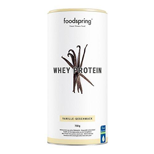 foodspring Whey Protein Pulver, 750g, Vanille, Eiweißpulver mit hohem Proteingehalt zum Muskelaufbau, aus Milch von Weidekühen