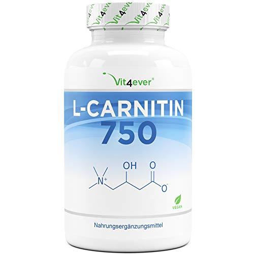 L-Carnitin - 180 vegane Kapseln - Hochdosiert mit 3000 mg pro Tagesportion - Premium: 100% L-Carnitin Tartrat ohne Zusätze - Laborgeprüft - Vegan