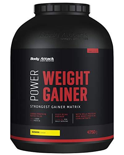 Body Attack Power Weight Gainer, 100% Masseaufbau, Kohlenhydrat-Eiweißpulver zum Muskelaufbau mit Whey-Protein, ideal für Hardgainer (Banana, 4,75 kg)