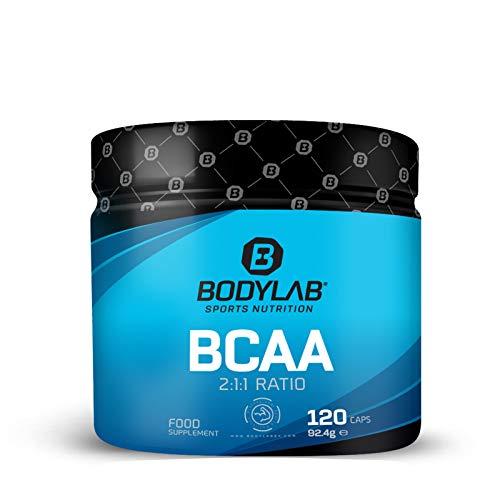 Bodylab24 BCAA 120 Kapseln, 1200mg BCAA im Verhältnis 2:1:1 je Portion, enthält L-Leucin, L-Isoleucin und L-Valin, für Muskelqualität und schnelle Energie für dein Workout, in praktischer Kapselform
