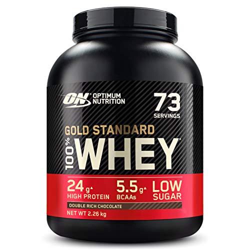 Optimum Nutrition ON Gold Standard Whey Protein Pulver, Eiweißpulver Muskelaufbau mit Glutamin und Aminosäuren, natürlich enthaltene BCAA, Double Rich Chocolate, 73 Portionen, 2.26 kg