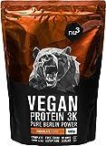 nu3 Vegan Protein 3K Shake - 1Kg Chocolate Blend - veganes Eiweisspulver aus 3-Komponenten-Protein mit 70% Eiweiss - Pulver zum Muskelaufbau mit Schokoladen Geschmack - Laktosefrei und zuckerfrei