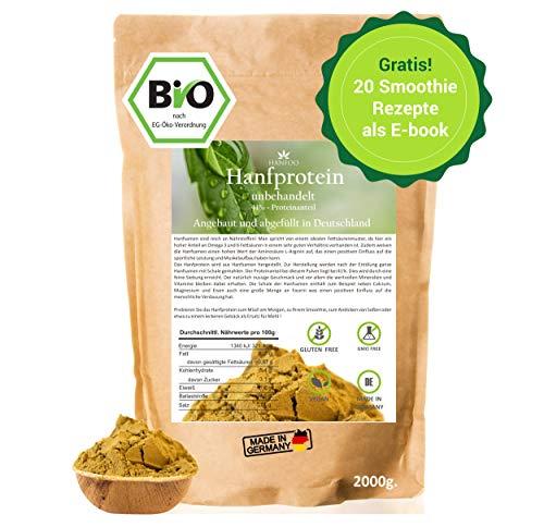 BIO Hanfprotein 2kg aus Deutschland + Gratis Smoothie E-Book (PDF), Vegan Protein aus Hanfsamen, Low Carb