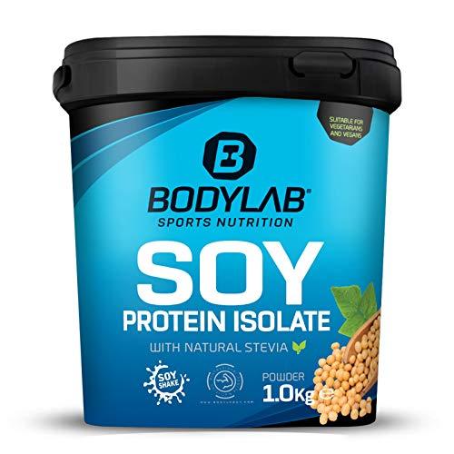 Bodylab24 Soja Protein Isolat Vanille 1000g, rein pflanzliches Sojaprotein-Isolat für Deinen Muskelaufbau, aus bis zu 90% Eiweiß, umfangreiches Aminosäure-Profil, geringer Fett- und Kohlenhydratanteil