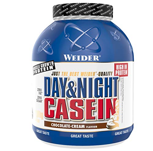 Weider Day & Night Casein Proteinpulver, Schoko-Sahne, Eiweiß für Muskelaufbau, Fitness Shake 1,8kg