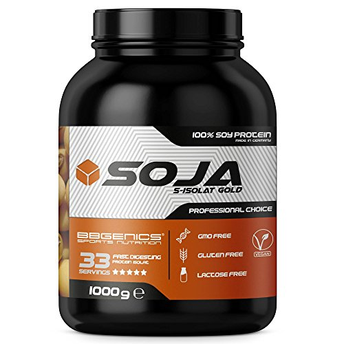 Soja Isolate GOLD - (100% vegan natural Soy Protein, lactosefrei, natuerliches Eiweiss Isolat), by BBGenics Sports Nutrition, 1000g Vanille