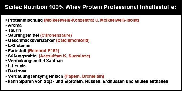 scitec nutrition 100 prozent whey protein professional inhaltsstoffe