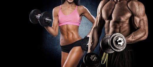 fitness-frau-mann-mit-hanteln