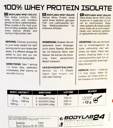 dosierungsanleitung bodylab24 whey isolate