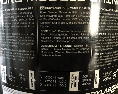 bodylab24 pure muscle gainer dosierung