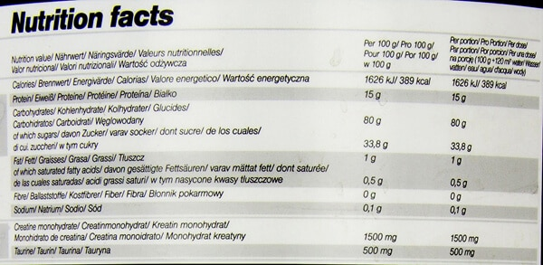 olimp gain bolic 6000 nutrition facts