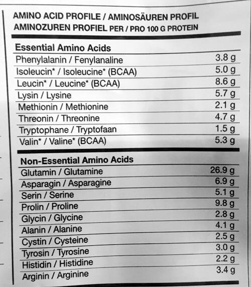 bodylab24 weight gainer aminosaeurenprofil