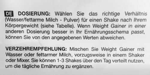 bodylab24 weight gainer dosierung
