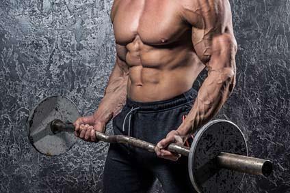 bodybuilder langhantel und whey protein