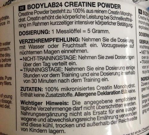bodylab24 creatine powder dosierung