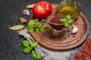 herzhafter tomatendip mit eiweißpulver