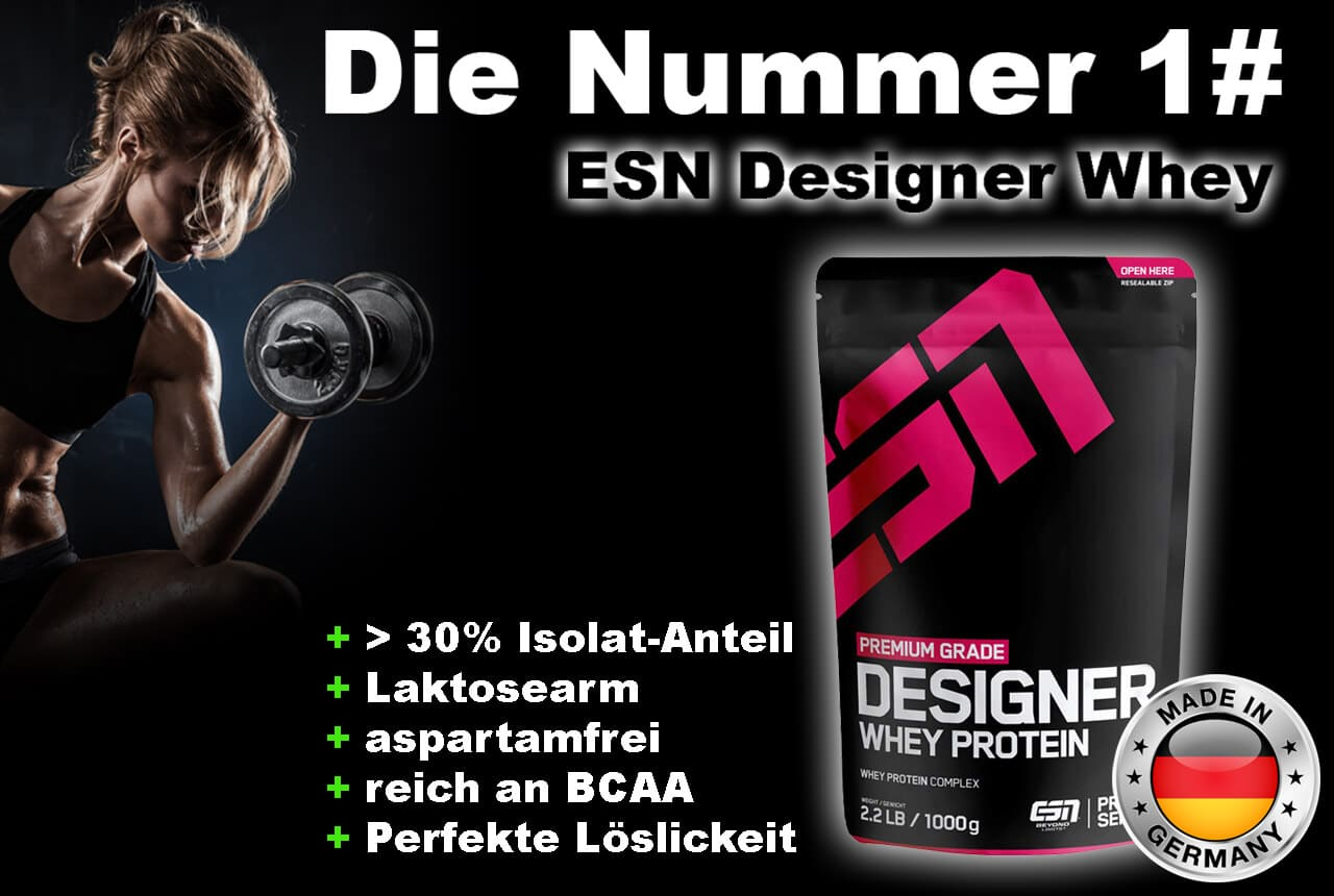 Bestes Whey-Protein ESN Designer Whey laktosearm und aspartamfrei