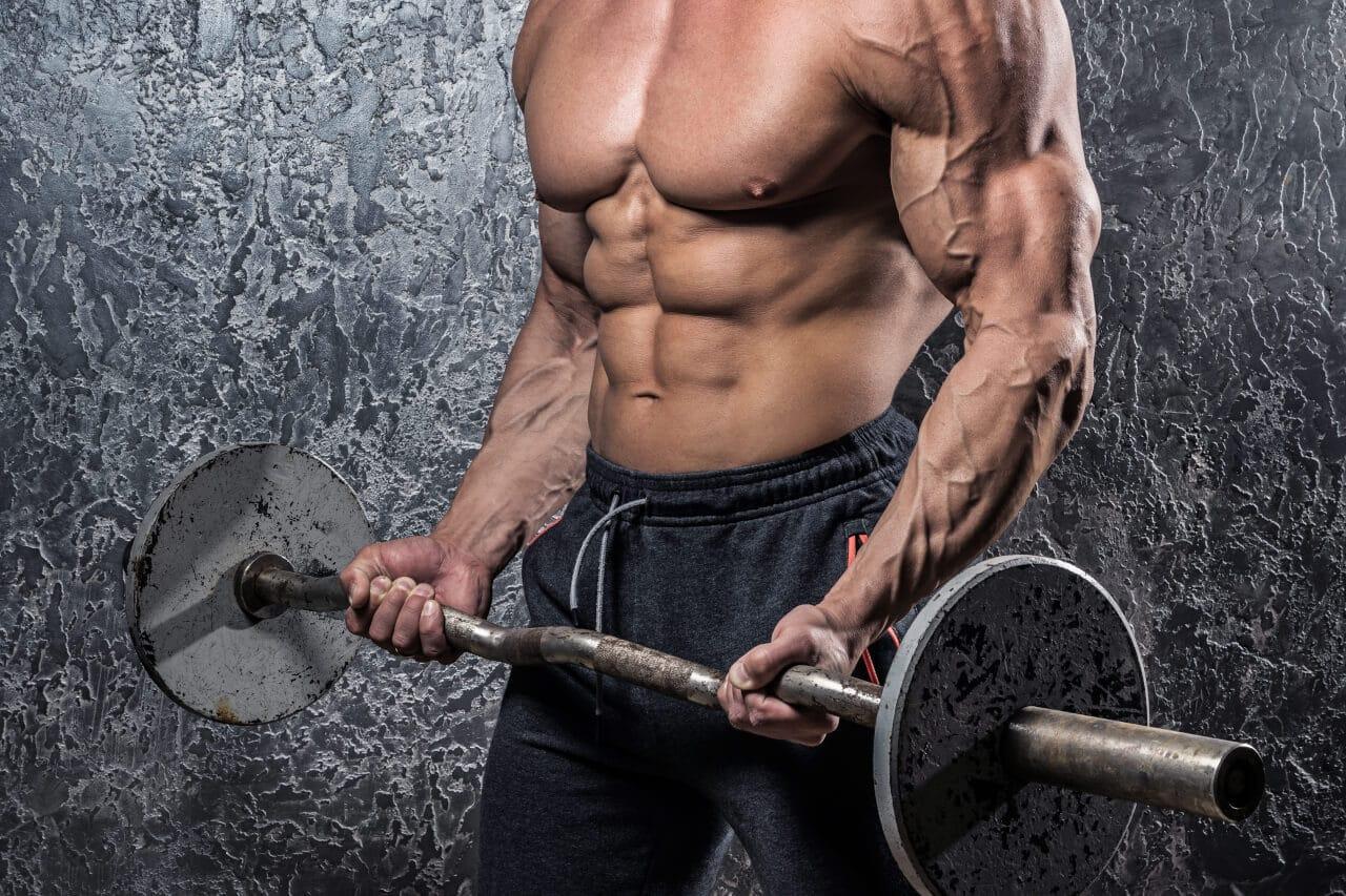 Bodybuilder mit Langhantel Bizepscurls
